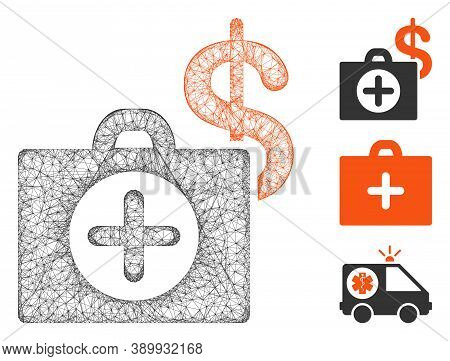 Mesh Payment Healthcare Polygonal Web Symbol Vector Illustration. Carcass Model Is Based On Payment