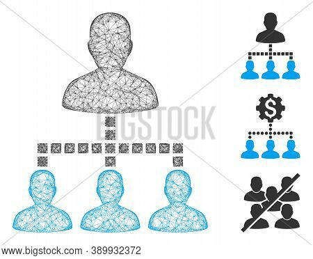 Mesh People Hierarchy Polygonal Web Symbol Vector Illustration. Model Is Created From People Hierarc