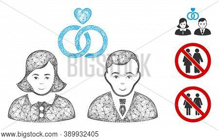 Mesh People Marriage Polygonal Web 2d Vector Illustration. Model Is Created From People Marriage Fla