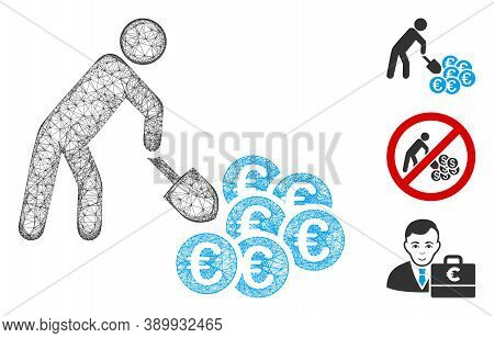 Mesh Person Mining Euro Polygonal Web Icon Vector Illustration. Model Is Based On Person Mining Euro