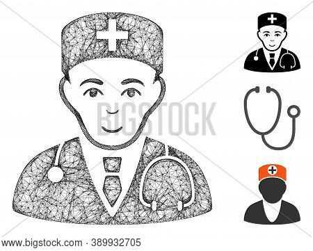 Mesh Physician Polygonal Web Icon Vector Illustration. Carcass Model Is Based On Physician Flat Icon