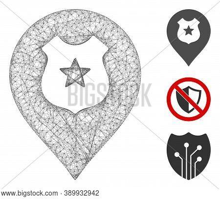 Mesh Police Guard Marker Polygonal Web Symbol Vector Illustration. Carcass Model Is Based On Police