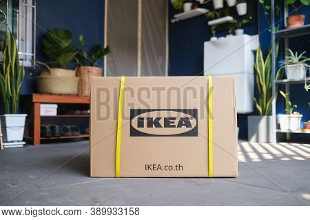 Bangkok, Thailand - Nov 6, 2019: Ikea Logotype Printed On Cardboard Box Package Delivered From Ikea