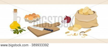 A Set Of Products For Cooking Spanish Potato Omelet - Tortilla De Patata. Olive Oil, Onions, Potatoe