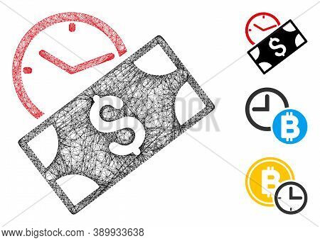 Mesh Rent Recurring Payment Polygonal Web Icon Vector Illustration. Model Is Created From Rent Recur