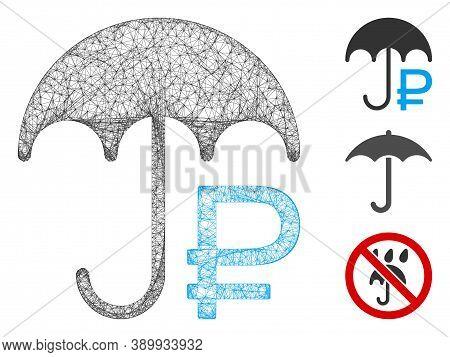 Mesh Rouble Umbrella Polygonal Web Icon Vector Illustration. Model Is Based On Rouble Umbrella Flat
