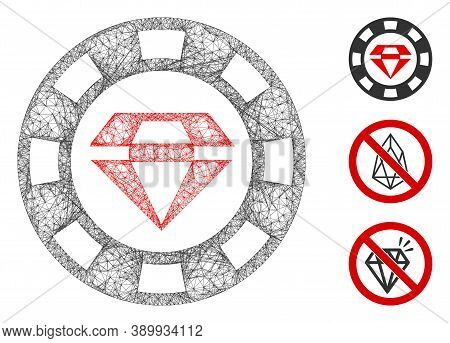 Mesh Ruby Casino Chip Polygonal Web Icon Vector Illustration. Carcass Model Is Based On Ruby Casino