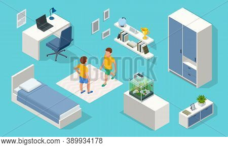 Isometirc Interior Elements For Modern Teenager Room Interior With Comfortable Bed. Idea For Interio