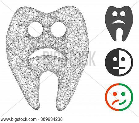 Mesh Sad Tooth Polygonal Web Icon Vector Illustration. Carcass Model Is Created From Sad Tooth Flat