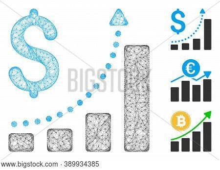 Mesh Sales Growth Polygonal Web Icon Vector Illustration. Model Is Created From Sales Growth Flat Ic