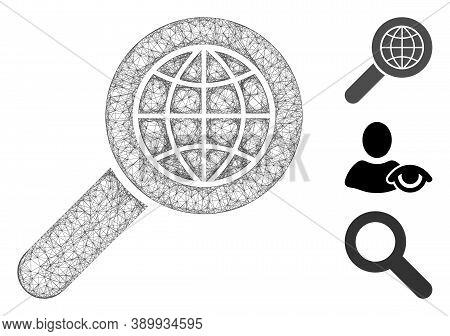 Mesh Search Globe Place Polygonal Web 2d Vector Illustration. Carcass Model Is Based On Search Globe