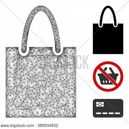 Mesh Shopping Bag Polygonal Web Icon Vector Illustration. Model Is Based On Shopping Bag Flat Icon.