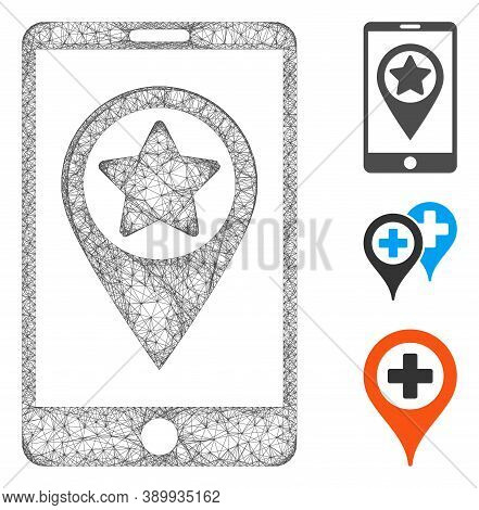 Mesh Smartphone Map Pointer Polygonal Web Icon Vector Illustration. Model Is Based On Smartphone Map