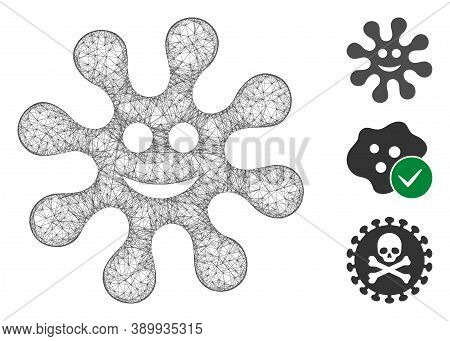 Mesh Smile Virus Polygonal Web Icon Vector Illustration. Abstraction Is Based On Smile Virus Flat Ic