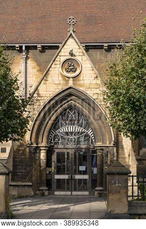 Doncaster, Yorkshire, Northern England -  October 7, 2020. St James' Church Entrance Door Details.
