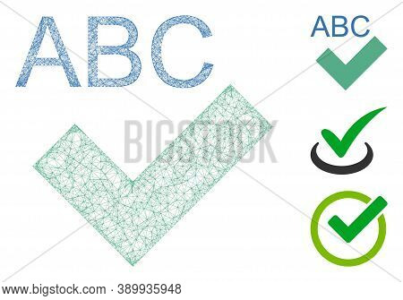 Mesh Spell Checking Polygonal Web Icon Vector Illustration. Model Is Created From Spell Checking Fla