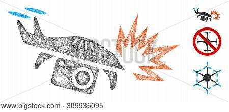 Mesh Spy Drone Explosion Polygonal Web Symbol Vector Illustration. Model Is Based On Spy Drone Explo