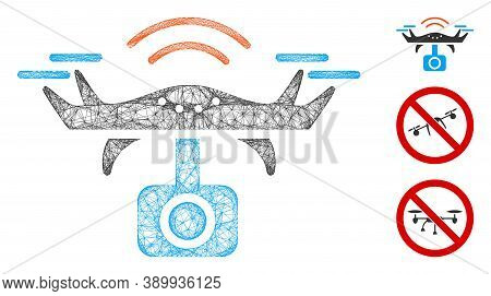 Mesh Spy Drone Polygonal Web Icon Vector Illustration. Model Is Based On Spy Drone Flat Icon. Triang
