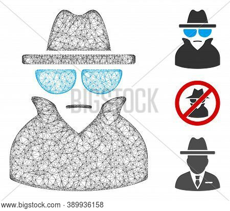 Mesh Spy Polygonal Web 2d Vector Illustration. Carcass Model Is Based On Spy Flat Icon. Triangle Mes