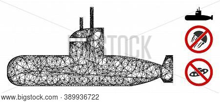 Mesh Submarine Polygonal Web 2d Vector Illustration. Model Is Created From Submarine Flat Icon. Tria