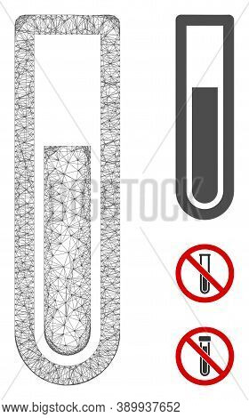 Mesh Test Tube Polygonal Web Icon Vector Illustration. Carcass Model Is Based On Test Tube Flat Icon