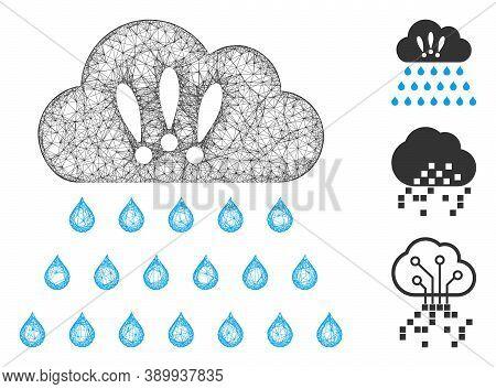 Mesh Thunderstorm Rain Cloud Polygonal Web Icon Vector Illustration. Carcass Model Is Based On Thund
