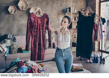 Portrait Of Her She Nice Attractive Doubtful Girl Holding In Hands Hangers Two New Chic Designer Cou