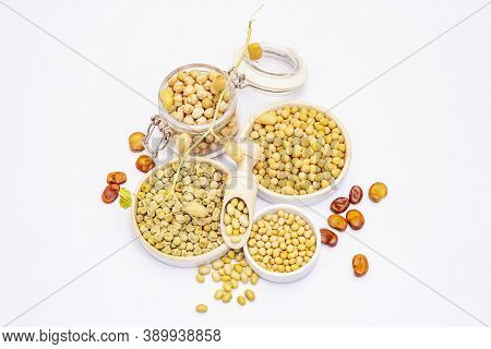 Assorted Variety Of Legumes Isolated On White