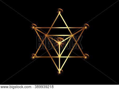 Sacred Geometry. Merkaba Gold Line Geometric Triangle Shape. Esoteric Or Spiritual Symbol. Isolated