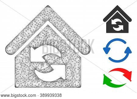 Mesh Update Building Polygonal Web Icon Vector Illustration. Model Is Based On Update Building Flat