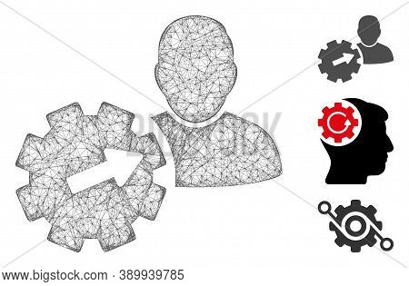 Mesh User Integration Api Gear Polygonal Web Icon Vector Illustration. Carcass Model Is Based On Use