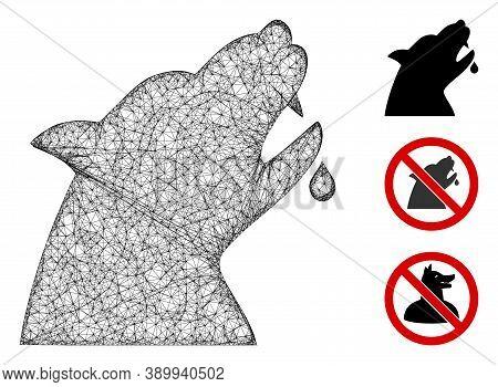 Mesh Werewolf Polygonal Web 2d Vector Illustration. Carcass Model Is Based On Werewolf Flat Icon. Tr