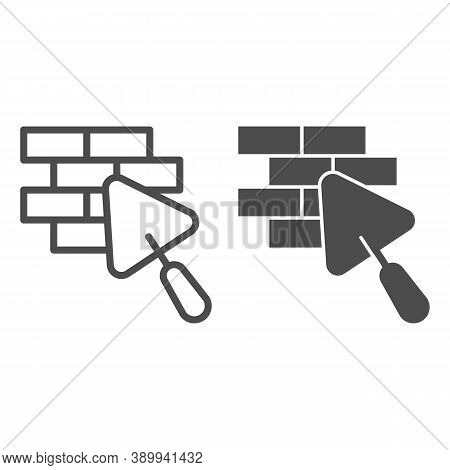 Brickwork And Trowel Line And Solid Icon, House Repair Concept, Bricklaying Sign On White Background