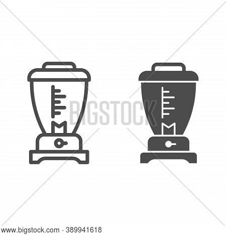 Blender Line And Solid Icon, Kitchen Appliances Concept, Electric Mixer Sign On White Background, Ki