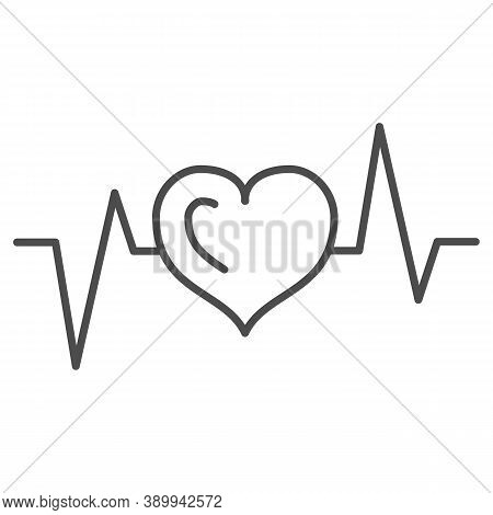 Electrocardiogram Thin Line Icon, Medical Tests Concept, Heart Beat Sign On White Background, Heartb