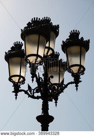 Lampost In Barcelona City. Streetlight In Spain.