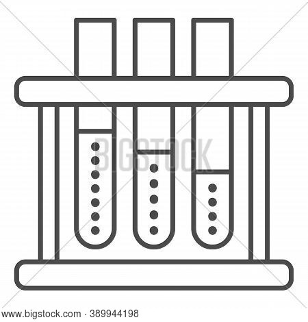 Sample Tubes Thin Line Icon, Medical Tests Concept, Laboratory Equipment Sign On White Background, S