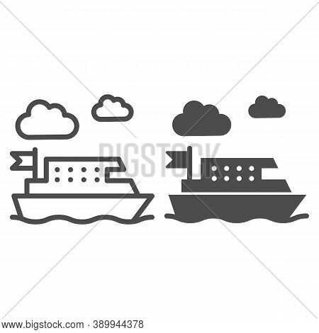 Ferry Line And Solid Icon, Public Transport Concept, Ferry Ship Transportation Sign On White Backgro