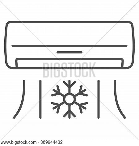 Air Conditioner Thin Line Icon, Gym Concept, Air Cooling With Snowflake Sign On White Background, Ai