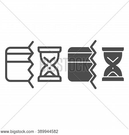 Half Of Bank Card And Hourglass Line And Solid Icon, Payment Problem Concept, Credit Card Operation