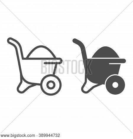 Sand In Wheelbarrow Line And Solid Icon, House Repair Concept, Sand Trolley Sign On White Background