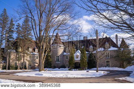 King City, Ontario, Canada - 02 16 2020: Eaton Hall Inn And Conference Centre Is A Large House Built
