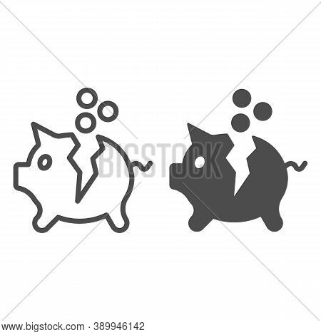 Broken Piggy Bank With Coins Line And Solid Icon, Payment Problem Concept, Moneybox Sign On White Ba