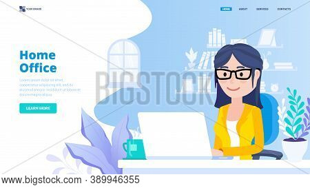 Home Office Vector Illustration Concept.hero Image With Character.