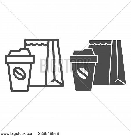 Cup Of Coffee And Package Line And Solid Icon, Coffee Time Concept, Take Away Food Package Sign On W