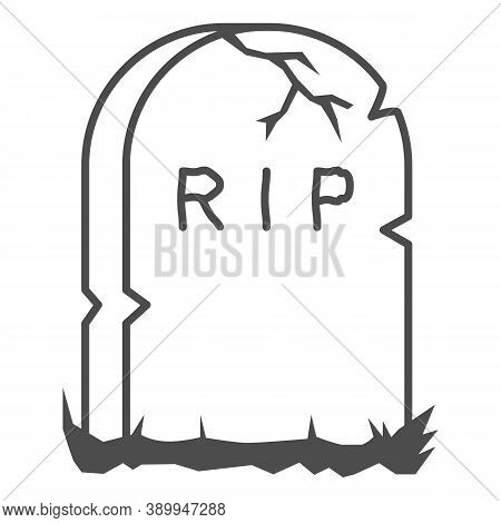 Headstone Thin Line Icon, Halloween Concept, Grave Stone Sign On White Background, Gravestone With R