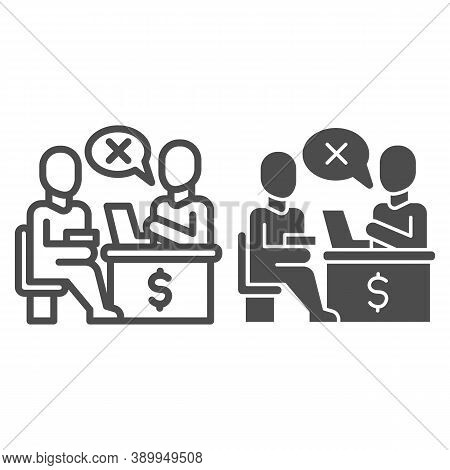 Bank Manager Refuses A Loan For Person Line And Solid Icon, Payment Problem Concept, Loan Refusal Si