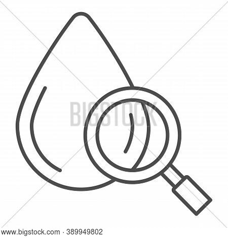 Blood Drop Under Magnifier Thin Line Icon, Medical Tests Concept, Blood Test Sign On White Backgroun