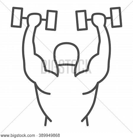 Lifting Dumbbells Thin Line Icon, Gym Concept, Weightlifter Sign On White Background, Bodybuilder Li