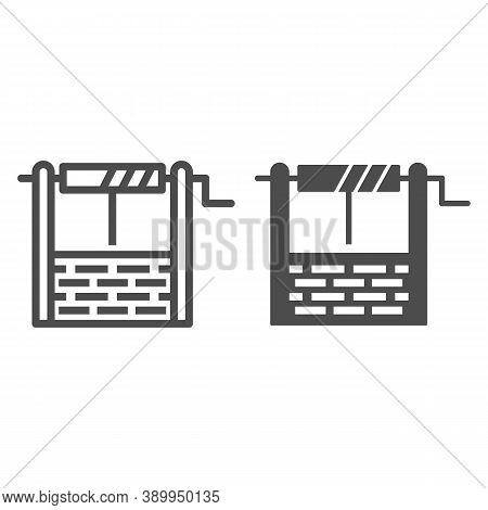 Water Well Line And Solid Icon, Garden And Gardening Concept, Draw-well Sign On White Background, We
